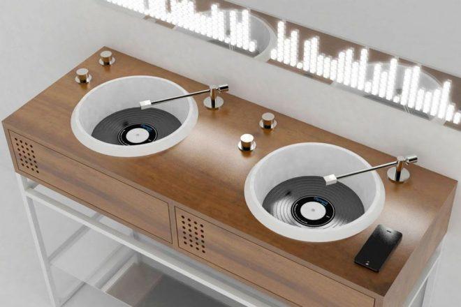 Designer cria pia de banheiro que parece um toca-discos